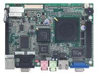 EBC 320 AMD Geode™ LX800处理器,128 KB L2缓存 集成VIA CS5536芯片组 1 x SO-DIMM插槽,支持高达1GB Non-ECC/Non-registered DDR SDRAM 1 x Realtek 8139C+ 10/100 Ethernet控制器 支持CRT/TTL LCD 紧凑的Flash插槽