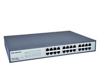 磊科 NSD1324D 24口千兆以太网交换机  1、遵循IEEE802.3 以太网和IEEE802.3u 快速以太网协议标准、IEEE802.3ab千兆以太网标准;2、48Gbps的背板带宽;3、10/100Mbps环境下支持全双工/半双工工作模式,在1000Mbps环境下只支持全双工模式;4、35.71Mpps的包转发率,自动MDI/MDI-X线序交叉;5、8K MAC地址空间,存储转发;6、CRC校验削减错误帧,支持帧长为 9K Byte的超大数据帧传输;7、LED 指示灯提供简单的侦测和管理功能