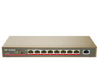 IP-COM  F1109P   9口百兆8口PoE非网管型交换机,支持8口AF/4口AT PoE供电,铁壳10寸桌面式