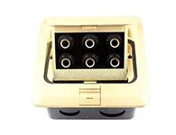 環球電工全銅彈起式地插座-裝6個話筒麥克風用TRS大三芯6.35母座