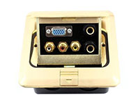 環球-全銅地插座-彈起式-雙話筒6.5母-音頻視頻-三蓮花母-VGA6.35