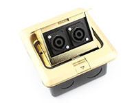 環球-雙位四芯音箱座彈起式銅地插-專業音響插座地板插