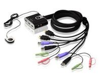 ATEN  CS692  2端口USB HD音频/视频KVM多电脑切换器;可通过单一USB键盘、USB鼠标及HD显示器控制端操作2台HD接口电脑。
