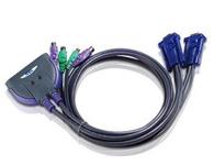 ATEN  CS62S   2端口PS/2 KVM多电脑切换器;为整合0.9m线缆,设计十分轻巧,可从一组控制端控管两台电脑主机。
