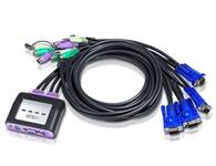ATEN  CS64A  4端口PS/2 KVM多电脑切换器+音频功能;整合1.8m线缆并内建PS/2接口连接端口,设计十分轻巧,可从一组控制端控管4台服务器电脑主机。