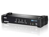 ATEN  CS1784A  4端口USB DVI Dual Link KVMP™多电脑切换器;此款产品整合了4端口KVM多电脑切换器与2端口USB Hub,同时支持DVI接口的显示器与音频功能。