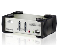 ATEN  CS1732B  2端口USB 2.0 KVMP™多电脑切换器+OSD;是内建2端口USB 2.0 Hub的2端口KVMP™多电脑切换器,用户可通过一组键盘、屏幕及鼠标所组成的控制端,集中管理2台电脑。用户亦可通过前面板按钮、热键、OSD及鼠标四种方式轻松进行电脑切换。