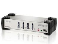 ATEN  CS1734B  4端口USB 2.0 KVMP™多电脑切换器+OSD;是内建2端口USB 2.0 Hub的4端口KVMP™多电脑切换器,用户可通过一组键盘、屏幕及鼠标所组成的控制端,集中管理4台电脑。用户也可通过前面板按钮、热键、OSD及鼠标四种方式轻松进行电脑切换。