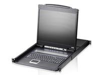 """ATEN  CL1308 19寸LCD KVM多电脑切换器  配备整合式19\"""" LED 背光之LCD面板,能让单一控制端(键盘、鼠标和显示器)访问并控制多达8台电脑。可串联多达8台额外的切换器,使可连接的电脑总数达128台。通过一组由键盘、显示器、鼠标组成的控制端,便可控制这些电脑。"""