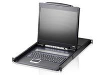"""ATEN  CL1316 19寸LCD KVM多电脑切换器  配备整合式19\"""" LED 背光之LCD面板,能让单一控制端(键盘、鼠标和显示器)访问并控制多达16台电脑。可串联多达16台额外的切换器,使可连接的电脑总数达256台。通过一组由键盘、显示器、鼠标组成的控制端,便可控制这些电脑。"""