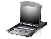 ATEN  KL1508Ai 8端口双滑轨LCD KVM多电脑切换器  为一组控制设备,其允许从一组控制端(键盘、显示器、鼠标)安全控管高达8台电脑;其整合了LED背光之LCD屏幕、键盘及触控板于抽拉式的机体内,并可安装于机架上。