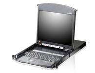 ATEN  KL1516Ai 16端口双滑轨LCD KVM多电脑切换器  为一组控制设备,其允许从一组控制端(键盘、显示器、鼠标)安全控管高达16台电脑;其整合了LED背光之LCD屏幕、键盘及触控板于抽拉式的机体内,并可安装于机架上。