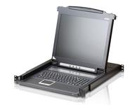 """ATEN  CL1000 抽拉式LCD控制端  整合17\"""" LED背光之LCD液晶屏幕、键盘及触控板于1U高度,以提供市场客户对整合型控制端设备另一新选择。已经拥有KVM切换器的用户,不需支付额外的费用便可以享受LCD KVM的好处。"""