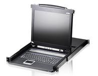 """ATEN  CL1016 16端口LCD PS/2 KVM多电脑切换器 内建17\"""" LED背光之LCD显示器与鼠标触控板,并整合于1U抽拉式机身内。CL1016可直接控管16台服务器;另外,通过菊式串接额外串接15台KVM多电脑切换器,单一KVM控制端可控管多达256台服务器, 对于企业而言,是一套扩充性强,节省空间的KVM管理方案。"""