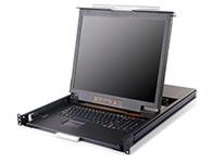 秦安-KinAn DL1901 双滑轨三合一控制平台  整合了LED显示屏、超薄键盘、鼠标触摸板,与KVM控制端于单一抽拉式的双滑轨机体内,集成在1U高度单元内,采用抽屉式安装方式,彻底解决空间不足的问题。与标准键盘、显示器、鼠标相比, 可节省85\\%的空间。采用高品质A级19″TFT LED显示屏,分辨率最高可达1280 x 1024 @60Hz。