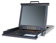 """秦安-KinAn LC1716 17″16口CAT5 LED KVM控制平台  整合LED屏、超薄键盘、Touch Pad触摸鼠标板,集成在1U高度单元内,抽屉式安装方式,彻底解决空间不足的问题。采用高品质A级17""""TFT LED(无亮点),内置切换器可直接管理16台服务器,LC1716采用RJ-45接头与Cat 5线缆连接服务器,最远支持150米。"""