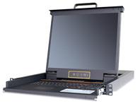"""秦安-KinAn XL1916 19寸16口LED KVM控制平台  整合LED屏、超薄键盘、Touch Pad触摸鼠标板,集成在1U高度单元内,抽屉式安装方式,彻底解决空间不足的问题。采用高品质A级19""""TFT LED(无亮点),内置切换器可直接管理16台服务器;通过菊式串接方式另外再串接31台KVM多电脑切换器,最多可管理512台服务器。"""