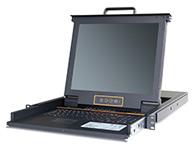 """秦安-KinAn XL1716 17寸16口LED KVM控制平台  整合LED屏、超薄键盘、Touch Pad触摸鼠标板,集成在1U高度单元内,抽屉式安装方式,彻底解决空间不足的问题。采用高品质A级17""""TFT LED(无亮点),内置切换器可直接管理16台服务器;通过菊式串接方式另外再串接31台KVM多电脑切换器,最多可管理512台服务器。"""