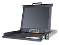 """秦安-KinAn XL1708 17寸8口LED KVM控制平台  整合LED屏、超薄键盘、Touch Pad触摸鼠标板,集成在1U高度单元内,抽屉式安装方式,彻底解决空间不足的问题。采用高品质A级17""""TFT LED(无亮点),内置切换器可直接管理8台服务器;通过菊式串接方式另外再串接31台KVM多电脑切换器,最多可管理256台服务器。"""