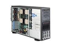 超微SC748TQ-R1K43B    机箱样式: 机架式 机箱结构: 4U 适用主板: 16.48英寸x14.3英寸ATX(四处理器主板)16.48英寸x16.8英寸(X8主板) 硬盘位: 5个3.5英寸SAS/SATA硬盘位,2个5.25英寸Peripheral Drive Bay,1个5.25英寸Bay For Floppy Drive 支持热插拔系统: 支持 散热系统: 3×7500转热插拔冷却风扇 3×8200转热交换后排气风扇 电源类型: 1400W冗余高效率电源 前置接口: 2*USB