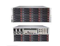 超微SC847DE16-R1K28LPB    机箱样式: 机架式 机箱结构: 4U 适用主板: 12英寸x13英寸ATX 硬盘位: 72个3.5英寸SAS2/SATA3 HDDs硬盘位(24个前,12个后),2个HDD 支持热插拔系统: 支持 散热系统: 7×90mm热插拔冗余冷却风扇 电源类型: 1280W(2+1)冗余电源 机箱尺寸: 178*437*889mm