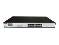 """优力普 PM3016GSNL16口千兆POE交换机,带屏显    48V 260W """"交换机监控专用,8口 插满,正常工作"""" """"兼容802.3af/at 标准,每个PoE端口输出功率达32W,自动侦测PD设备,PoE过载警示灯,传输距离及供电保证100米 """" 内置电源,支1.2.3.6或4.5.7.8 四根线供电"""