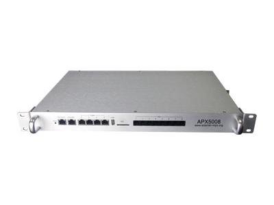 8FXO口适用型IP-PBX  APX5008  是专门为国内中小型企业量身定制的嵌入式IP集团电话系统和网络控制管理于一体的设备。它适应于100人以下使用的商务IP办公电话系统。APX5008 将企业的语音、数据业务集成管理在一起的。不仅能高效的控制通信成本,而且能将企业现有的资源整合在一起,帮助企业提高办公效率,从而提升企业的竞争力。