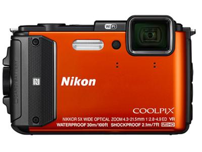 尼康 AW130  相机类型:三防相机;无线功能:WiFi功能;镜头性能:潜望式;感光元件类型: CMOS;传感器尺寸: 1/2.3英寸;像素: 1600万及以上;光学变焦: 5倍;显示屏尺寸: 3英寸;储存介质: SD卡;电池类型: 锂电池