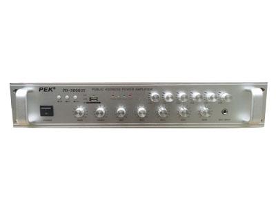 匹克 PEK PD-350UT 380瓦,五路话筒输入,音乐,话筒,混响,音量独立调节,进口东芝管子放大功率强劲 信噪比:大于95db,频率响应:10hz—50KHZ,平衡输入阻抗:20K  O谐波互调失真:(1KHZ.200MV):0.1\% HMS , 输入灵敏度:0.775V 外形尺寸:49*38*14