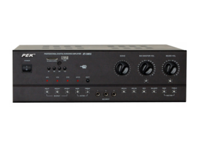 匹克 PEK  AV-1000U 额定功率380瓦 5路话筒输入,四路立体声音源输入。灵敏度:15Mv 信噪比:90db 个输入灵敏度:200mv 谐波互调失真:(1KHZ.200MV):0.1\% 频率响应:20hz—20khz 麦克风音调:80hz+15db 回响音调:80hz+15db   集成均衡混响 外形尺寸:43*35*13