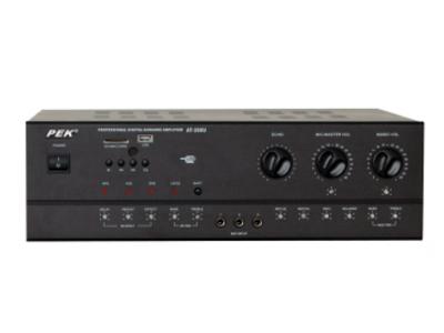 匹克 PEK  AT-280U 额定功率380瓦 5路话筒输入,四路立体声音源输入。灵敏度:15Mv 信噪比:90db 个输入灵敏度:200mv 谐波互调失真:(1KHZ.200MV):0.1\% 频率响应:20hz—20khz 麦克风音调:80hz+15db 回响音调:80hz+15db   集成均衡混响 外形尺寸:43*35*13