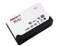 川宇235 六合一读卡器 即插即用 USB接口 使用方便 即插即用,容量无限制:若您要变换它的容量,只需换上需求容量的数码存储卡即可。 有6个卡槽CF/XD/MS/SD/MICRO SD/M2,数码相机卡,手机卡都能直接读取。 通过USB接口供电,无需外接电源