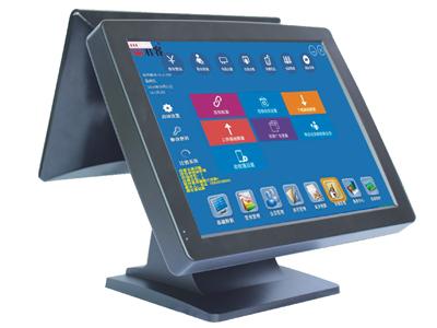 君容 C563LP   主板:D525工控主板;内存:DDR3 2G;硬盘:32G插卡电子硬盘;显示屏:15寸LCD液晶屏;触摸屏:四线电阻触摸屏;客显:LCD8;顾显:12寸LCD液晶屏;电源:12V/5A;颜色:哑黑;