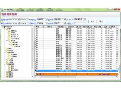 眼镜店管理系统-项目销售明细