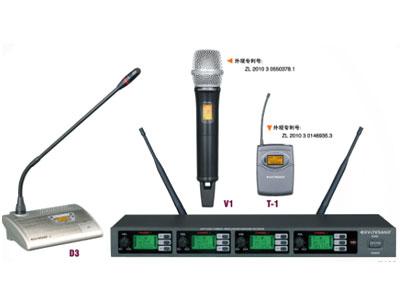 杰森 K403 一拖四无线会议话筒   1.四通道;2.740MHz-790MHz;3.200 频点可调;4.PLL 锁相环技术;5.有效距离:60米;
