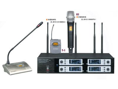 杰森 T403 一拖四真分集无线会议话筒  1.四通道;2.740MHz-790MHz;3.200 频点可调;4.PLL 锁相环技术;5.有效距离:100米;