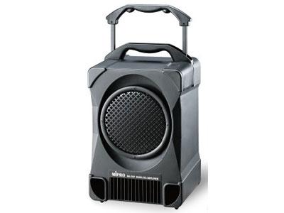咪宝 MA-707专业型手提式无线扩音机   拥有100W高传真、高效率功率输出,驱动高效率全音域喇叭,声音清晰强劲!专利的独特工艺造型,扩充配件模块化,可快速拆装更换。具有脚架底座可以固定装置在三脚架上使用,隐藏式麦克风收纳盒,便于麦克风的收纳。