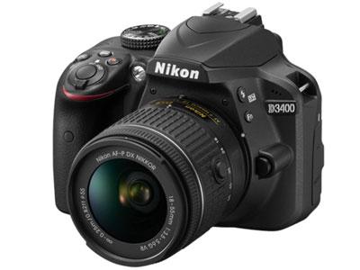Nikon/尼康 D3400套机 (18-55mm)  传感器:APS画幅(23.5*15.6mm);有效像素:2416万;显示屏尺寸:3英寸;显示屏像素:92.1万像素液晶屏;连拍速度:支持(最高约5张/秒);快门速度:1/4000至30秒;电池类型:锂电池EN-EL14a;