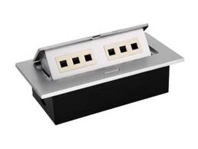 """六位桌面型地腳插座    """"● 提供三個模塊接口和三個音視頻接口,可以安裝任何標準的信息模塊及多媒體模塊(模塊需     單獨配備); ● 可提供標準模塊包含預留用空白擋板、BNC插座、雙口蓮花插座、話筒插座、卡儂插座、音     響插座、耳機插座、15芯孔型插座、15芯針型插座、二眼電源插座、 三眼電源插座等等; ● 長方型設計,外觀美麗大方; ● 翻蓋與外框之間的間隙均勻,縫隙差不超過0.15mm; ● 表面無任何形式的劃傷及擦碰傷; ● 翻蓋合上后與外框之間無不平現象,其面差值小于0.2mm; ● 金"""