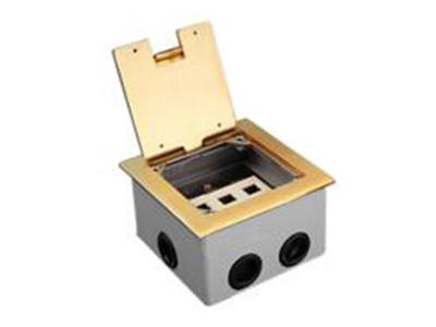 """三位方形信息開起式地腳插座    """"● 提供三個模塊接口,可以安裝任何標準的天誠信息模塊及多媒體模塊(模塊需單獨配備); ● 可提供標準模塊包含預留用空白擋板、BNC插座、雙口蓮花插座、話筒插座、卡儂插座、音 響插座、耳機插座、15芯孔型插座、15芯針型插座、二眼電源插座、 三眼電源插座等等; ● 正方型中式設計,外觀美麗大方; ● 四周邊緣做倒角和圓角處理,安裝后與地面形成高度差僅3mm,有效防止因平面段差造成事 故或產品損壞; ● 翻蓋與外框之間的間隙均勻,縫隙差不超過0.15mm; ● 表面無任何形式的劃傷及擦"""