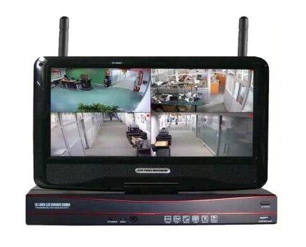 无线套装 NVR2004-PM 4路1080P无线网络高清录像主机/支持ONVIF协议/支持1个硬盘/配鼠标 电源/金属壳/中性产品/自带屏幕