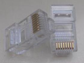 五星四芯水晶头 监控专用高品质四芯 水晶头 100M                                 五星级  纯铜  镀镍 镀金