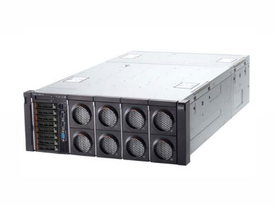 """IBM X3850X6 3837I01  x3850X6, 标配2个Intel6核XeonE7-4809v2处理器(1.9GHz,12M缓存,6.4GT/s),标配2块内存板48个 DIMM,32GB(4x8GB)1600MHzDDR3内存,标配8个2.5""""SAS热插拔硬盘槽位,标配M5210支持RAID0、1、10可选缓存 或Flash保护,主机带4口个千兆以太网卡,标配2个900W热插拔电源(带2根PDU电源线),4U机架式,无光驱。三年7*24*4有限保修"""
