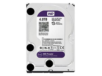"""西部数据 WD40PURX 4T 4TB紫盘视频监控专用硬盘    """"适用机型: 台式机 硬盘容量: 4TB 硬盘转速: IntelliPower 缓存容量: 64MB 接口类型: SATA3"""""""