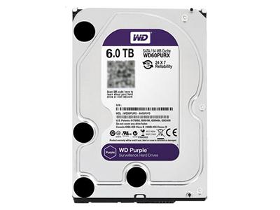 """西部数据 WD60PURX 6TB 紫盘 企业级监控硬盘64M 6T    """"适用机型: 台式机 硬盘转速: 7200转 缓存容量: 64MB 接口类型: SATA3 尺寸: 2.5英寸"""""""