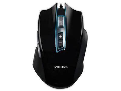 """飞利浦SPK9401B游戏鼠标    """"适用类型: 竞技游戏 鼠标大小: 大鼠 最高分辨率: 4000dpi 刷新率: 6000帧/秒 按键数: 8个 滚轮方向: 双向滚轮 连接方式: 有线 工作方式: 光电"""""""