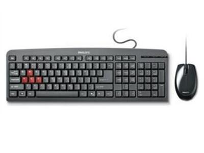 """飞利浦SPT1800BC    """"键盘连接方式:USB接口 键盘标准:104键 鼠标连接方式:USB接口 适用类型:笔记本台式机通用 人体工程学设计:支持"""""""