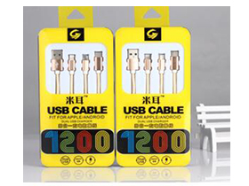"""米耳 M3-编织一拖三 """"适用:A[PLE系列/此类接口产品   特性:可升级芯片,急速充电   线材:德国进口pc材料   传输铜丝:90根   版本:USB2.0   线长:1.2m   颜色:金色   产品特点: 1.独有可升级芯片,同步IOS9.2系统升级,无需换线。 2.USB2.0接口,完全兼容iPhone。 3.采用德国进口TPE、PC材料,柔软耐扯拉,不易变色。 4.传输铜丝:90根纯铜丝,远超标准,提高充电速率。 5.内置独有高弹力纤维纱防断丝,可承受25kg拉"""""""