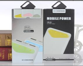米耳 M-R8移动电源 1、标准容量:  10000mAh                       2、额定容量: 6000                           3、电芯规格: 3节正A品 18650电芯                4、输入功率: 5V/1.5A                        5、输出功率:5V、2.1A  -1A                   6、重量:260g                                 7、颜色:灰色、黄色、粉色、绿色、蓝牙