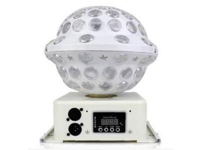 帕灯 FH-LX-018 上下出光,品名:LED上下出光魔球 电压:AC90-240V/50-60HZ 功率:22W 光源:6颗3WLED灯珠(红*2、黄*2、蓝*2) 特点:亮度高、耗电低、效果好、性能稳定 功能模式:2个声控模式、8个自走模式、DMX 主/从 标准配置:魔球一台、说明书一份 适用环境:家用、KTV包房、酒吧、迪厅、小型汇演等 产品尺寸:22*18*26(CM) 净重:1.6KG 毛重:2.1KG